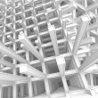 3d abstract architecture monochrome background. Modern white braced construction above cloudy sky - Stock Photo