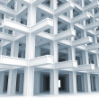 3d abstract architecture monochrome background. Modern white braced construction — Stock Photo