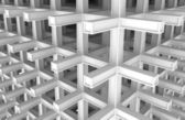 3d architecture monochrome abstract background. Modern white braced construction — Stock Photo