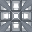 Stock Photo: 3d abstract architecture background. Modern white braced construction perspective