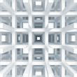3d abstract architecture background. Modern white braced construction perspective - Stock Photo
