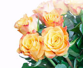 Orange and yellow roses bouquet fragment isolated on white — Stock Photo