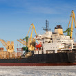 Bulk cargo ship loading, port of St.Petersburg, Russia — Stock Photo