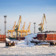 Royalty-Free Stock Photo: Cargo port in winter. Containers poles and cranes. St.Petersburg, Russia