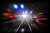 Illustration with subway tunnel with lights and motion blur — Stock Photo