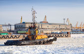 Small tug boat goes on icy channel in harbor of St.Petersburg cargo port — Fotografia Stock