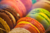 Macro with colorful macaroons in the box. Macro photo with shallow depth of field — Stock Photo