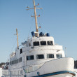 Moored small white passenger ship on the coast of Saimaa lake, Finland — Stock Photo