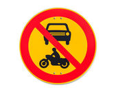 European round traffic sign, the passage of vehicles and motorcycles prohibited — Stock Photo