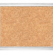 Empty cork board in white wooden frame isolated on white — Stock Photo