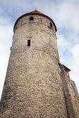 Tall ancient stone tower. Old Tallinn fortress, Estonia — Stock Photo