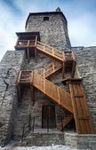 Ancient stone fortress with wooden stairs in old Tallinn, Estonia — Stock Photo