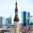 Vertical cityscape of Tallinn, Estonia. Old and modern buildings — Foto Stock