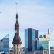 Cityscape panorama of Tallinn, Estonia. Modern buildings and old tower — Stock Photo