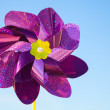Violet whirligig toy above blue sky — Stockfoto