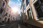 Street view with morning sun in old town of Tallinn, Estonia — Stock Photo