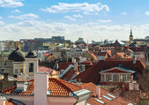 Red roofs, tubes and Church towers. Cityscape panorama of Old Tallinn, Estonia — Stock Photo