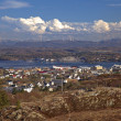 Rorvik. Norwegian fishing town on the sea coast in the evening — Stock Photo #25536247