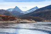 Spring Norwegian landscape with sea and mountains — Stock Photo