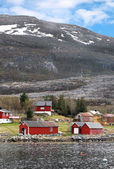 Traditional small Norwegian village with red wooden houses on rocky coast with mountains on the horizon — Stock Photo
