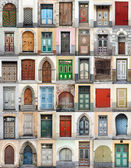 Clip-Art with big set of colorful wooden doors and gates from old town of Tallinn, Estonia — Stock Photo