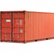 Bright red metal freight shipping container isolated on white - Stock Photo
