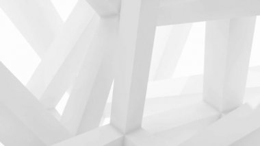 3d abstract architecture motion chaotic background. Inside of white rotating cube beam-type construction — Stock Video