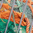 Stock Photo: Heap of fishing net and naval ropes