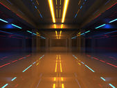 Abstract 3d interior with colorful neon lights in shining corridor — Stock Photo