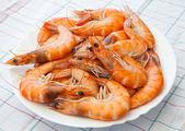 кучу подготовленные креветки лежит на тарелке — Стоковое фото