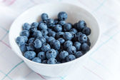 Blueberries in white bowl on the table — Foto de Stock