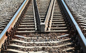Modern railroad perspective. Industrial transportation background — Stock Photo