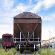 Cargo railway car stands on station. Front view — Stock Photo