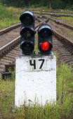 Railway semaphore shows red light — Stock Photo