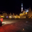 Illuminated town hall in old Tallinn at night — Stock Photo