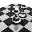 Stock Photo: Sliced black and white pawns on chessboard. Treason and duplicity concept illustration