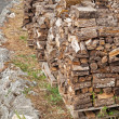 Stacks of fire wood laying on palettes — Stock Photo