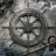 Vintage navigation background illustration with steering wheel, charts, anchor, chains — Stock Photo