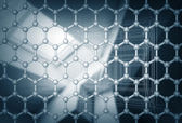 Graphene layer structure model. 3d render illustration with blurred abstract background — Stock Photo