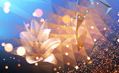 Abstract colorful illustration background with blurred lights and lily flower — Stock Photo