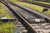 Railway track fragment with switch — Stock Photo