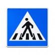 Classical European blue square pedestrian crossing sign isolated on white — Stock fotografie