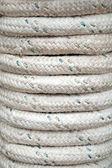 Bundle of gray marine rope closeup background texture — Stock Photo