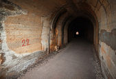 Dark abandoned tunnel interior perspective with glowing end. Petrovac town, Montenegro — Foto de Stock