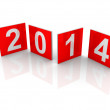 Red shining squares with new 2014 year numbers on white background with soft shadows. 3d design element — Stock Photo