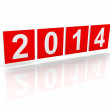 Red squares with new 2014 year numbers on white background with soft shadows. 3d design element — Stock Photo