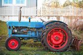 Small old blue tractor with red wheels stands on grass nearby wooden fence in Norway — Stock Photo