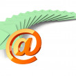 Batch of light green envelopes with email sign on white background — Stock Photo