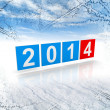 Blue and red shining squares with new 2014 year numbers on winter background — Stock Photo #30333193