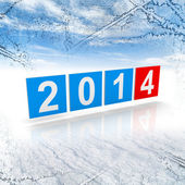 Blue and red shining squares with new 2014 year numbers on winter background — Stock Photo